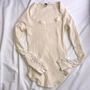 Free People Fitted Waffle Long Sleeve Size M